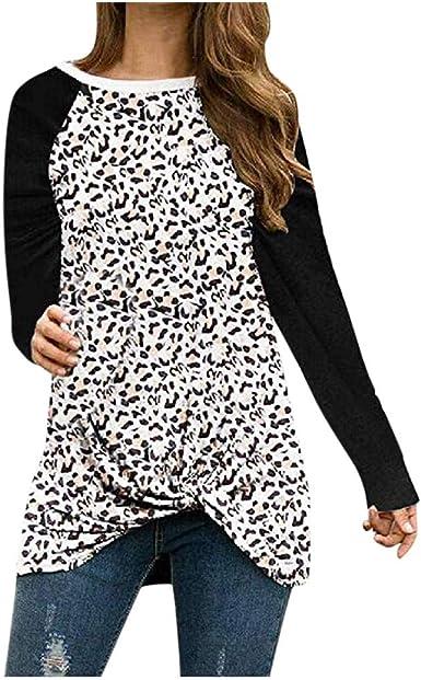 BOLANQ - Camisa con Estampado de Leopardo para Mujer con Cuello en V, de Manga Larga Negro XL: Amazon.es: Ropa y accesorios