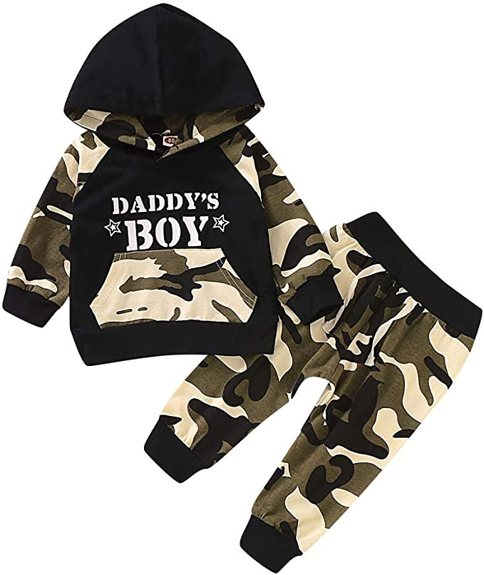 UK Kids Baby Boy Check Hooded Hoodies Tops+Long Pant Casual Tracksuit Outfit Set