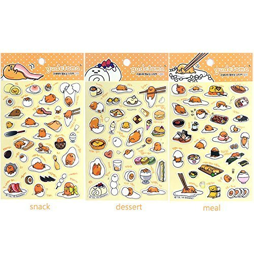 Sanrio Gudetama Lazy Egg 3D Puffy Sticker : 3pcs 1 Set by Gudetama