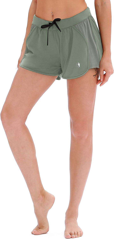 icyzone Damen Laufshorts Sport Hose Kurze Yoga Fitness Gym Shorts