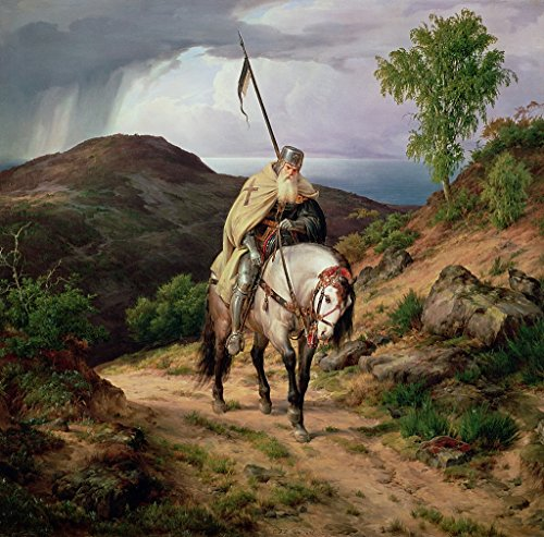 The Return of the Crusader Karl Friedrich Lessing 1835 Poster Art Photo Great Paintings Artwork Photos 12x12