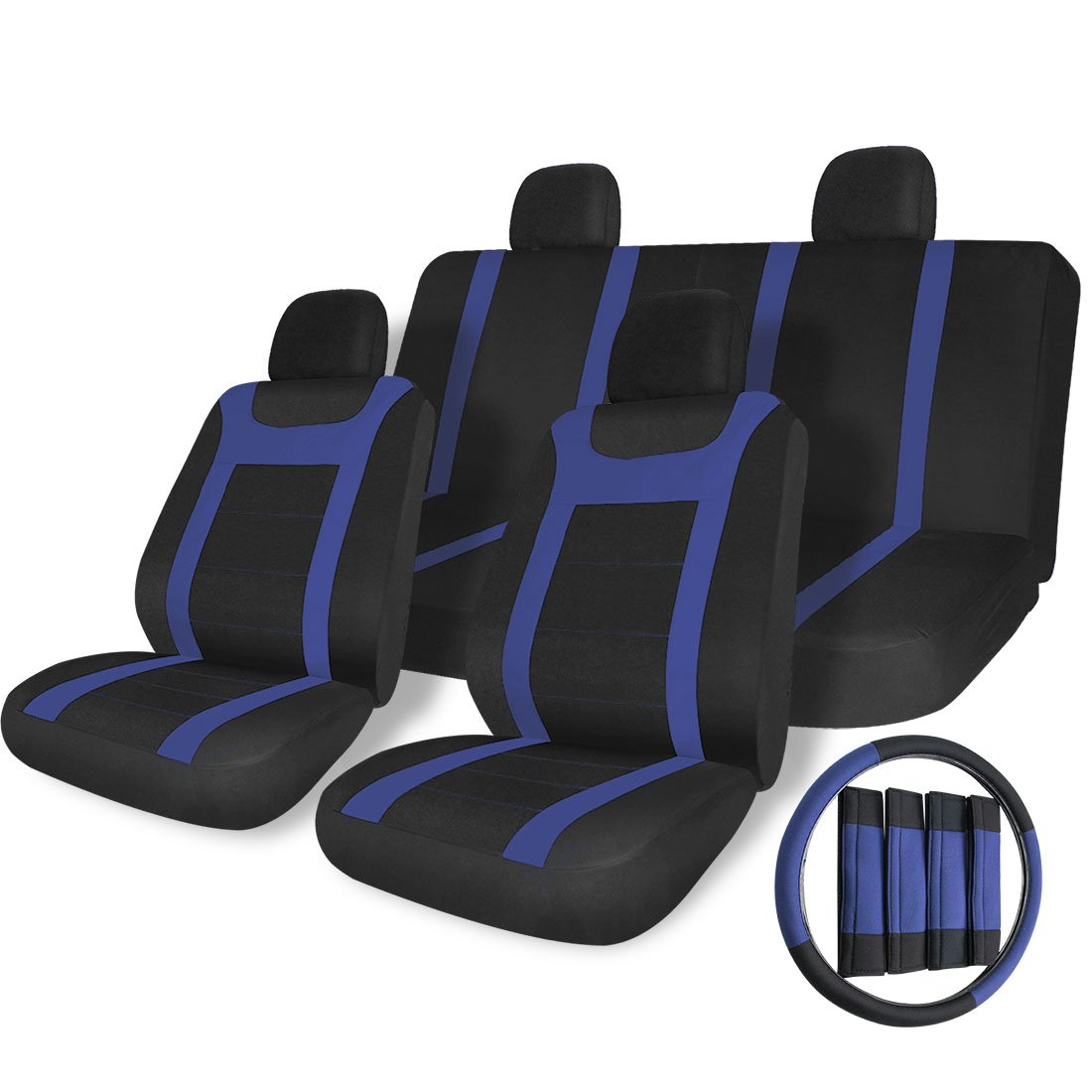 Copap 17pcs Universal SUV Car Seat Covers Mesh Fabric Seat Covers for Vehicles Autos Full Set Front Airbag Compatible 5 Headrest Covers 1 Steering Wheel Covers Black//Blue