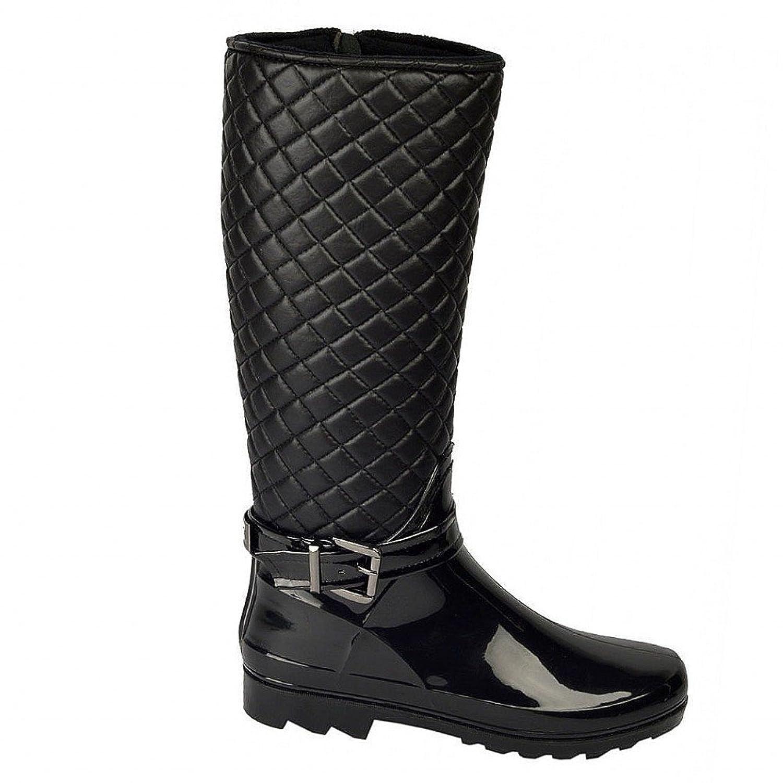 Las señoras de la rodilla de alta forrado de piel acolchada con cremallera tirantes botas mujeres negro wellington - UK3 / EU36, Negro con piel