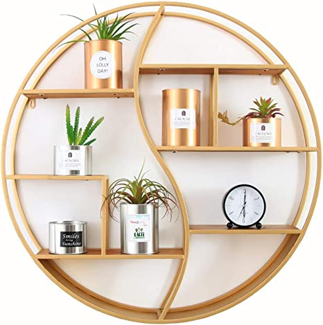 Amazon Com Round Metal Wall Mount Shelf Unit Retro Floating Decorative Shelves Shabby Chic Shelf For Pantry Living Room Bedroom Kitchen Entryway Color Gold Size 80x12x80cm Home Kitchen