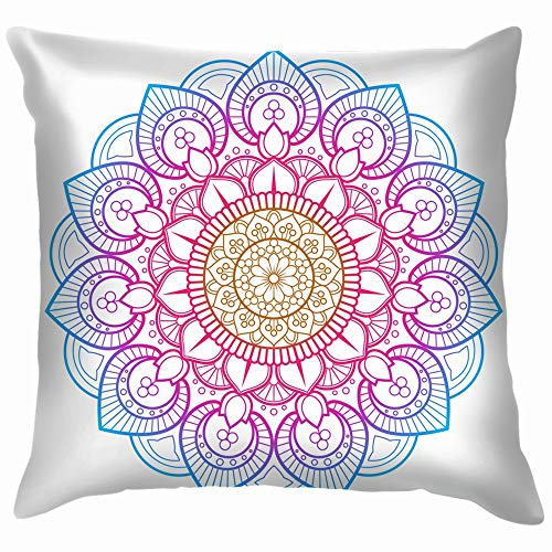 Flower Mandala Printable Package Decorative Elements Throw Pillow Case Cushion Cover Pillowcase Watercolor for Couch 20X20 -