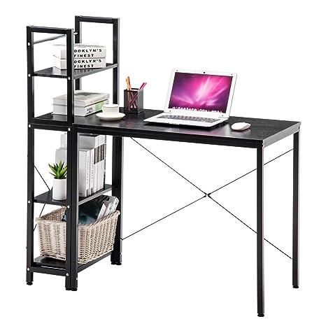 Black Multipurpose Computer Desk with 4-Tier Bookshelves Study Table Home Office