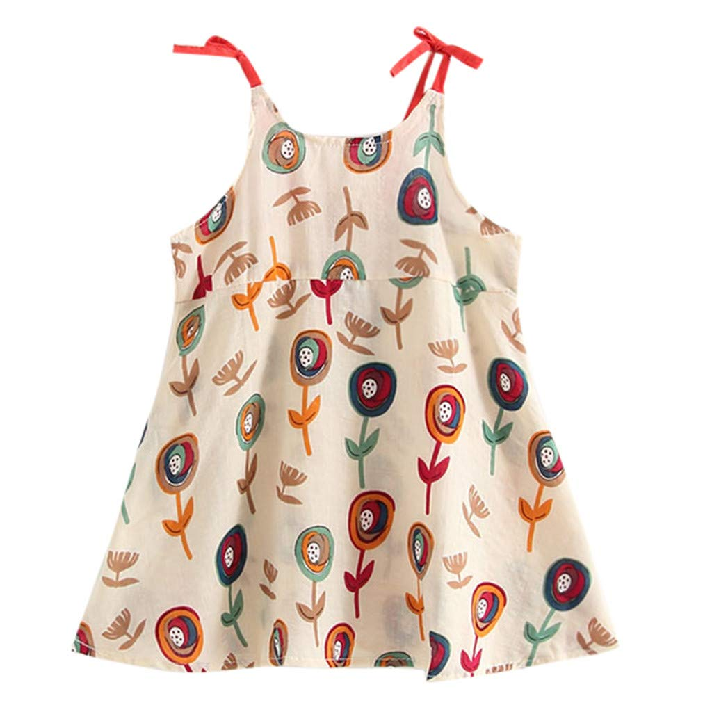 Toddler Infant Baby Girls Cartoon Floral Sleeveless Strap Princess Dress Outfits Beige