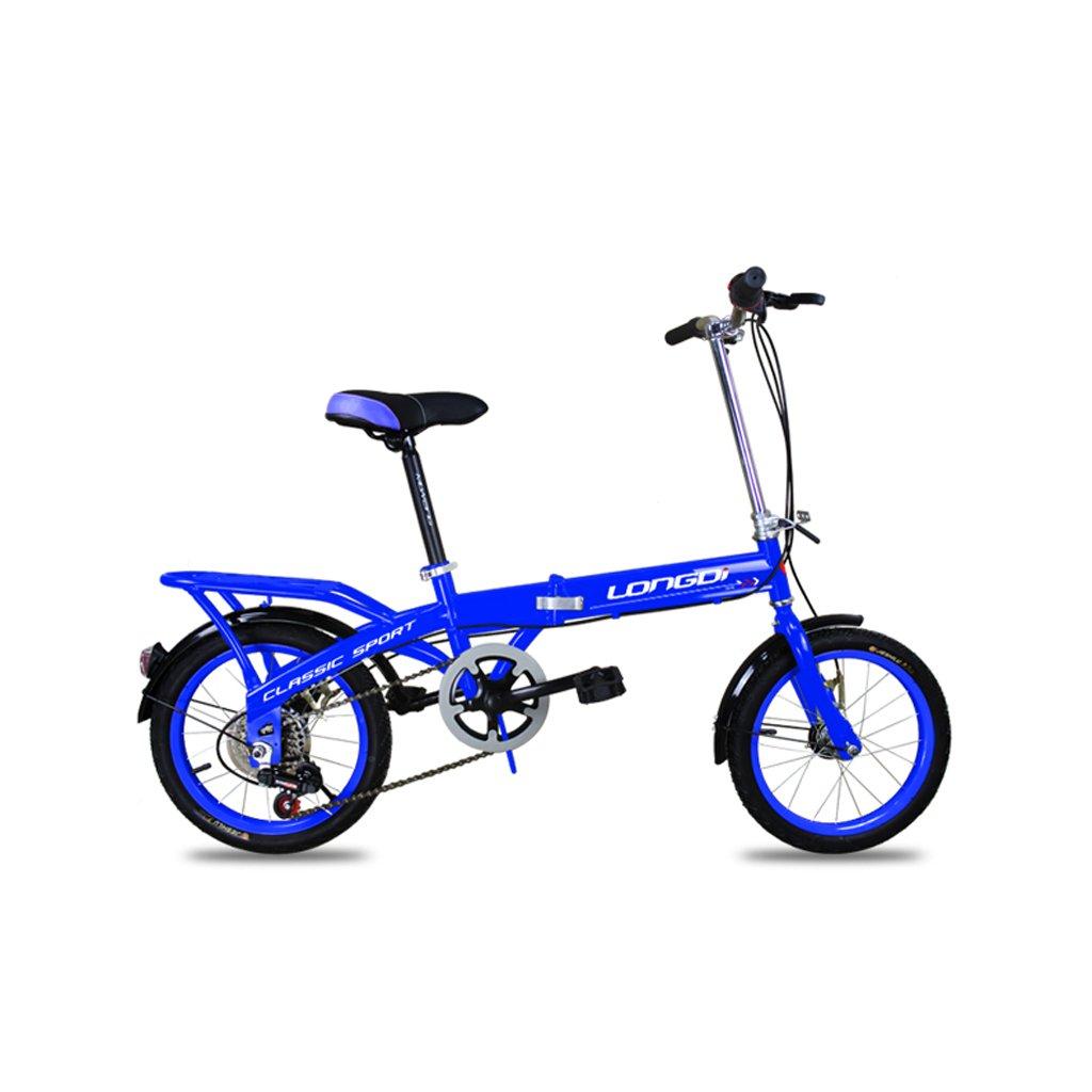 Bicicleta plegable para niños Bicicleta de 16 pulgadas para niños Velocidad de cambio de año de 4-7 años Bicicleta parachoques Marco de acero con alto contenido de carbono, Negro / rosa / azul / verde ( Color : Blue )