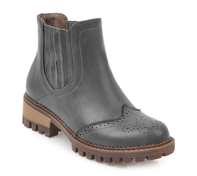 Moda Tendencia Botines Tela Elástica Tacón áspero Tacón Medio Botas De Mujer Zapatos De Mujer,DarkGray-41: Amazon.es: Ropa y accesorios