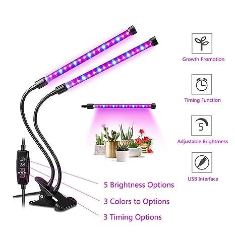 Luz de Planta LED, 360°Giratorio 8 Brillo Adjustable ...