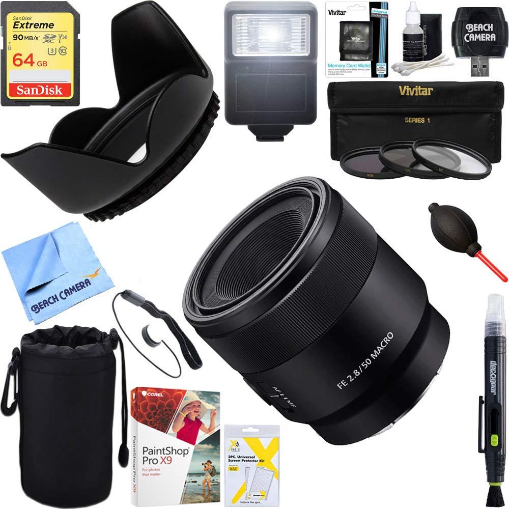 Sony FE 50mm F2.8 Full Frame E-Mount Macro Lens (SEL50M28) + 64GB Ultimate Filter & Flash Photography Bundle