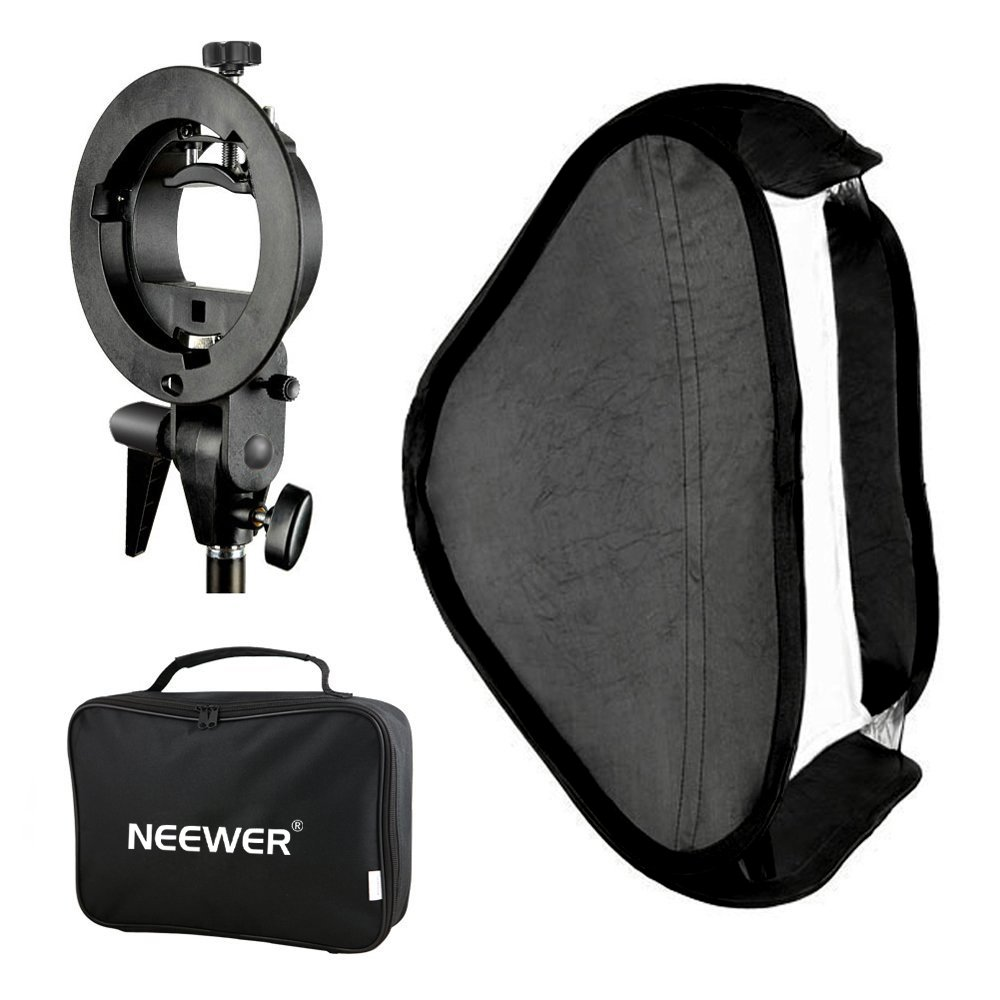 Neewer Photo Studio Multifunctional 24x24 inches/60x60 centimeters Softbox with S-type Speedlite Flash Bracket Mount and Carrying Case for Portrait or Product Photography by Neewer