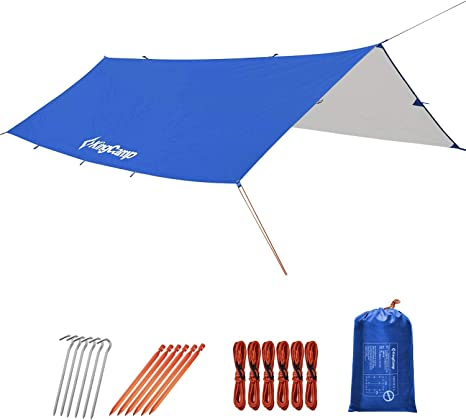Picnic Hiking Bearhard Rain Fly Camping Tarp 10x12ft //10x10ft Hammock Fly Include 6 Ropes and 4 Stakes Lightweight Waterproof Tent Tarp Perfect for Camping