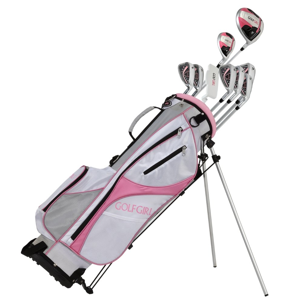 GolfGirl FWS3 Ladies Pink Complete All Graphite Right Hand Golf Clubs Set with Stand Bag