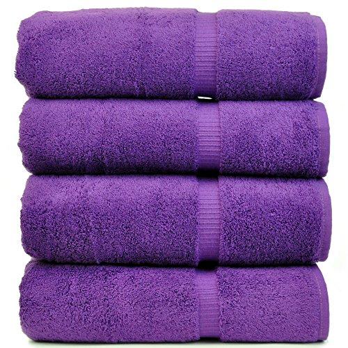 Luxury Hotel & Spa Bath Towel Turkish Cotton, Set of 4 (Eggplant)