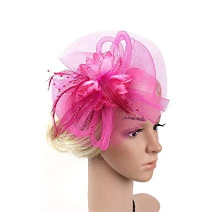 Cappello Fascinator Ladies Day Elegante Fascinator Tea Party Cappelli  Nuziale Feather Hairband Headwear Fiore Accessori per edbc751ad59c