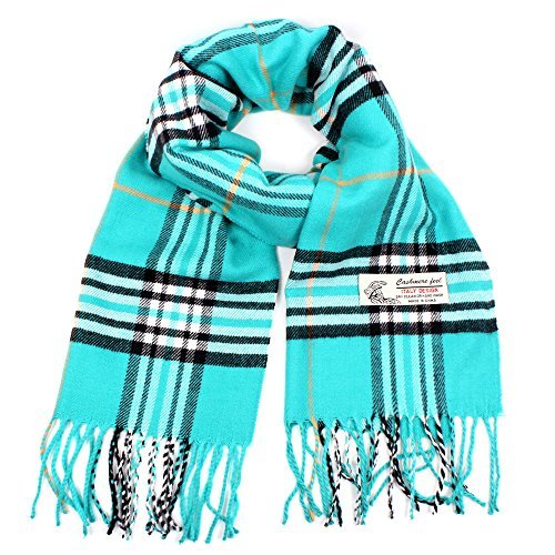 Plaid Cashmere Feel Classic Soft Luxurious Winter Scarf For Men Women (Turquoise)
