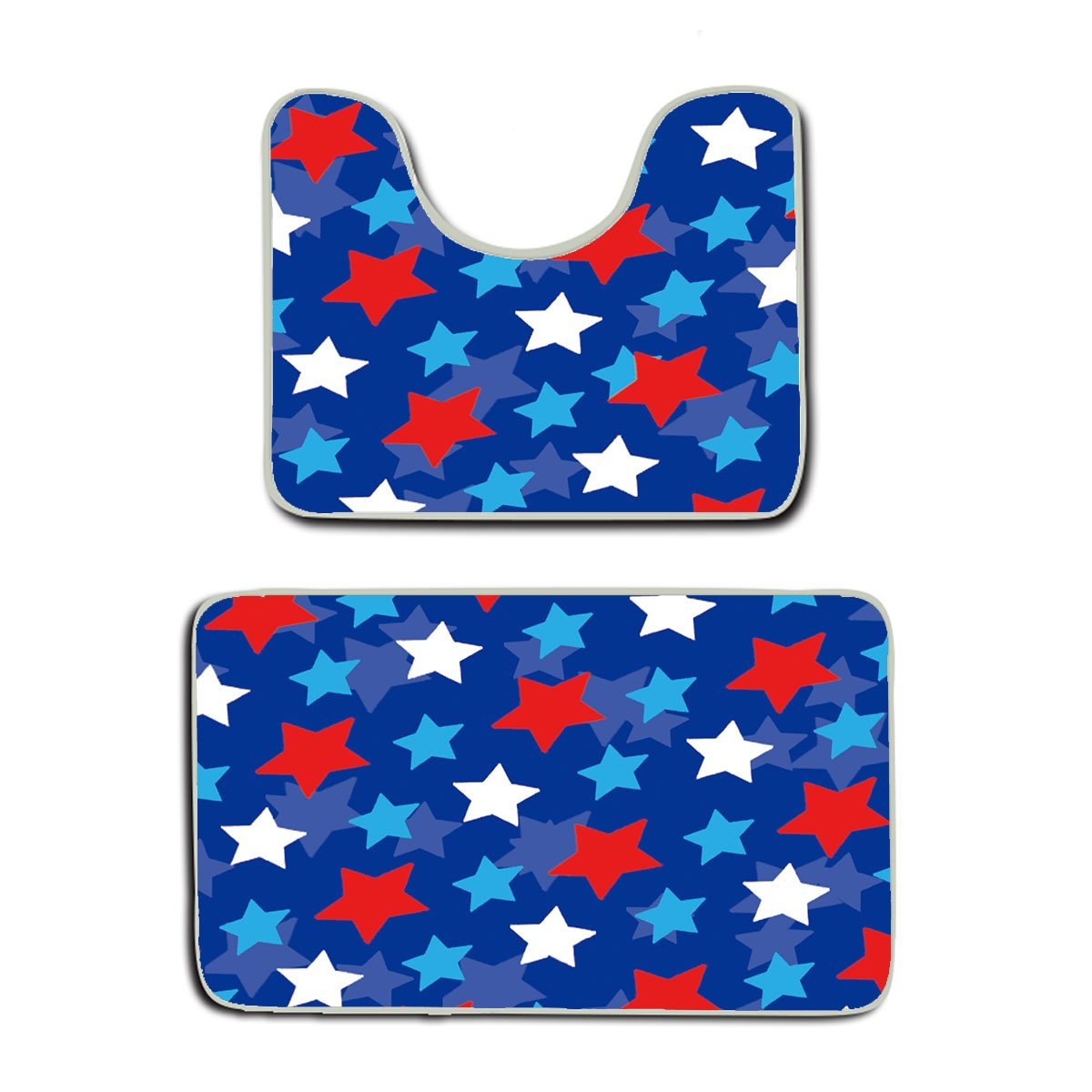 AMERICAN TANG American Flag Inspired Patriotic Design With Stars Bathroom Rug Mats Set 2 Piece,Funny Bathroom Rugs Graphic Bathroom Sets,Anti-skid Toilet Mat Set