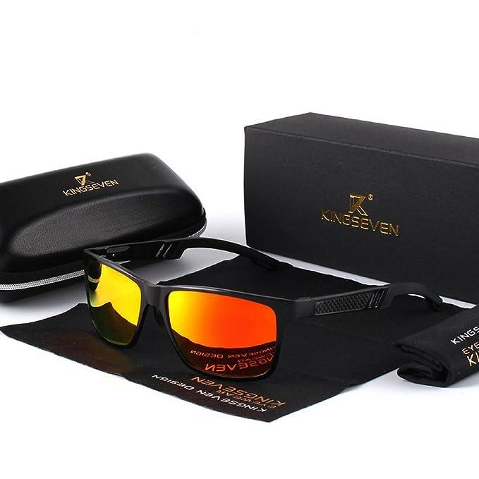 DluxoMode Gafas de sol espejo polarizadas cristal naranja, Gafas de sol cuadradas espejo polarizadas Hombres, Polaroid Polarizado, UV400, Anti-reflectante, ...