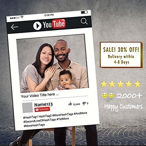 Personalized YouTube Selfie Frame YouTube Cutout Printed, Mounted, Delivered Durable