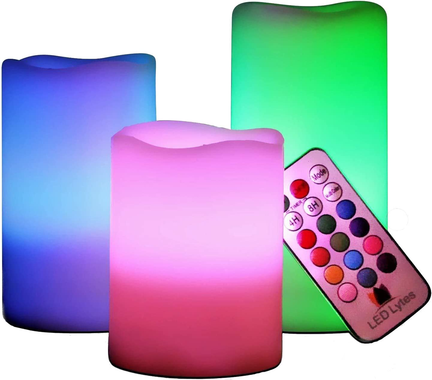 AESTHING Multi Colored Set of 3 Flickering Wax Flameless LED Pillar Candles with Remote Control-Battery Operated Pillar Candles – 7 Color Changing Candles for Home Decoration