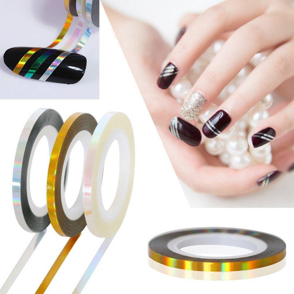 Miswilsi Shiny 3D Ultra Thin Adhesive Tape Stripe Line Roll Nail Art Laser Stickers DIY Manicure