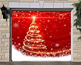 Single Garage Door Covers Merry Christmas Billboard Full Color Door Decor Decorations of House Garage Christmas Tree 3D Effect Print Holiday Mural Banner Garage Door Banner Size 83 x 96 inches DAV28
