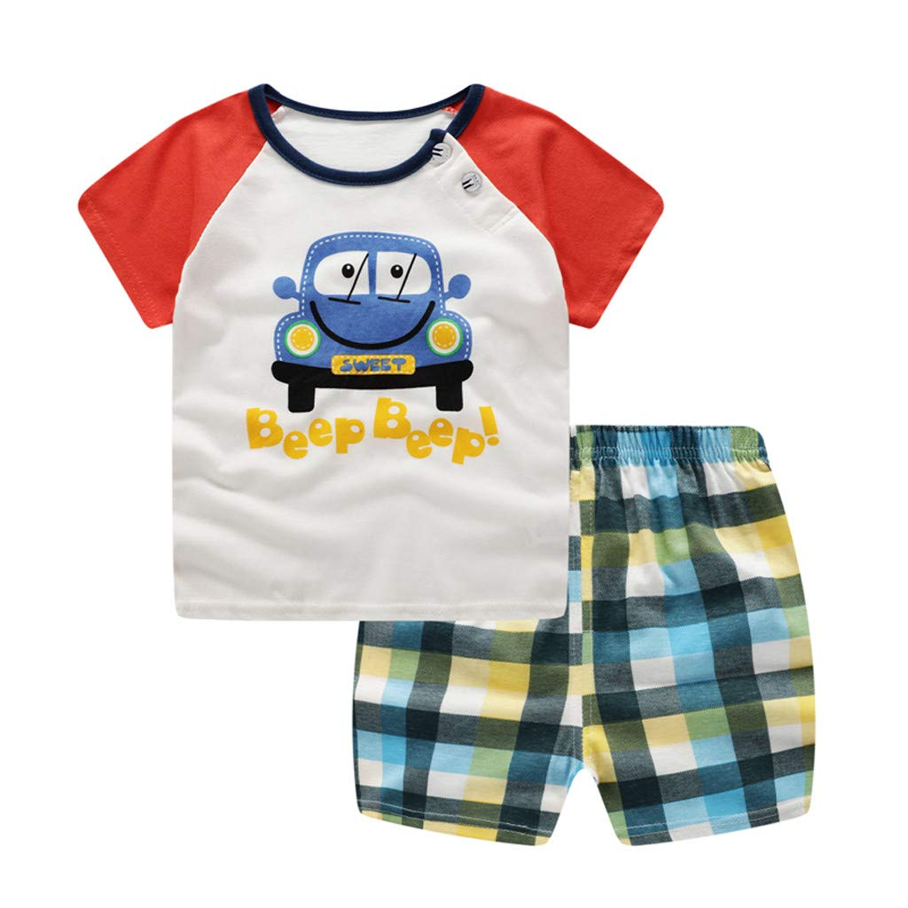 Infant Baby Boy Girl Cartoon Printed Short Sleeve Shirt + Shorts Outfit Set Red