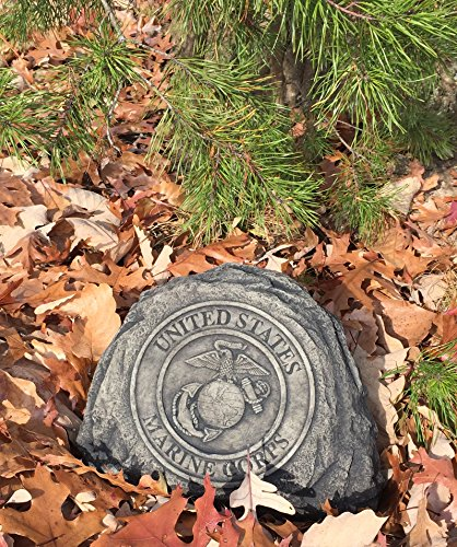 Marine Service Stone Memorial Handmade in USA made of cast stone concrete great for indoor or outdoor 3 color options available (Weathered) (Large Ornaments Garden Stone)