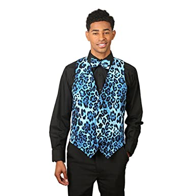 SixStarUniforms Mens Blue Leopard Print Vest and Matching Bow Tie-Small