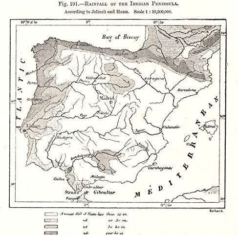 Antiqua Print Gallery Cascada de la Península Ibérica. España Portugal. Mapa de Dibujo – 1885 – Antiguo Mapa Vintage – Mapas Impresos de España: Amazon.es: Hogar