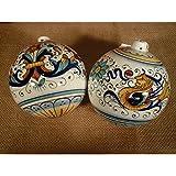 Palla di Natale artigianale in ceramica di Deruta fatta a mano 5 cm