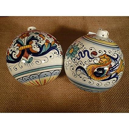 Palla di Natale artigianale in ceramica di Deruta fatta a mano 6 cm ...