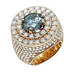 14K Rose, White or Yellow Gold Unique White Blue 11ctw Diamond Men's Ring