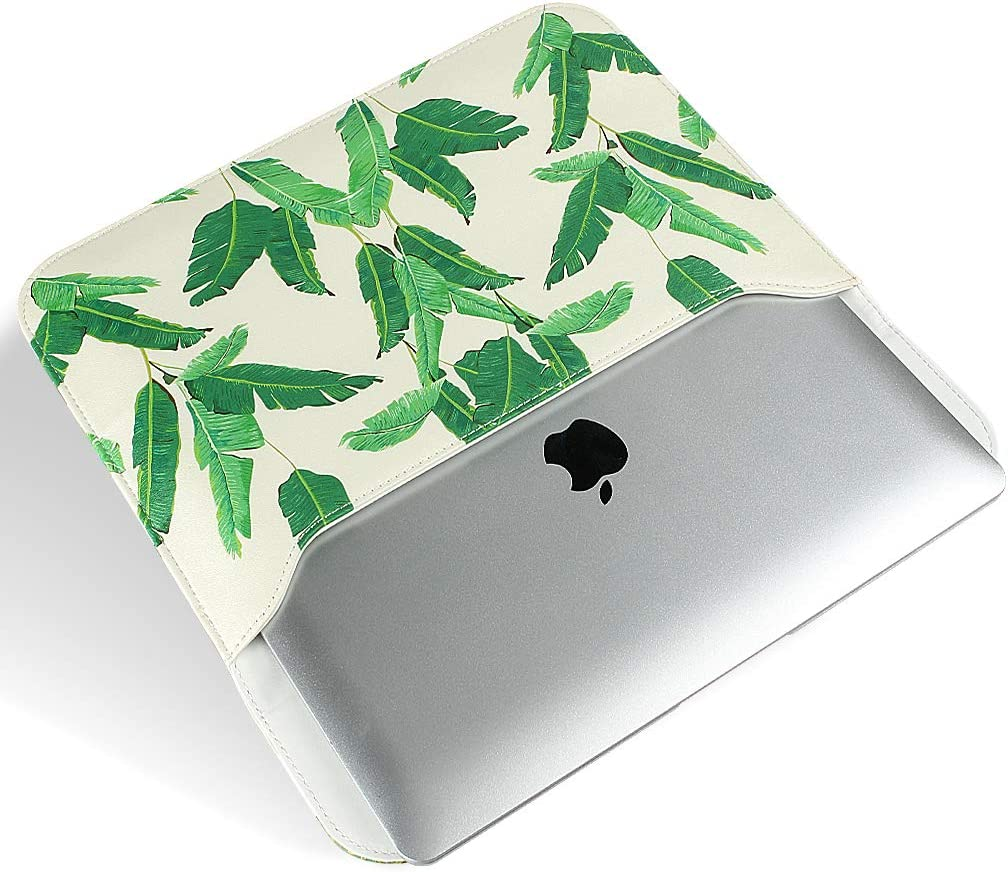GOLINK Leather Laptop Sleeve Bag for 15 inch MacBook Pro A1398//A1707 Slim Carrying Bag Banana Leaves
