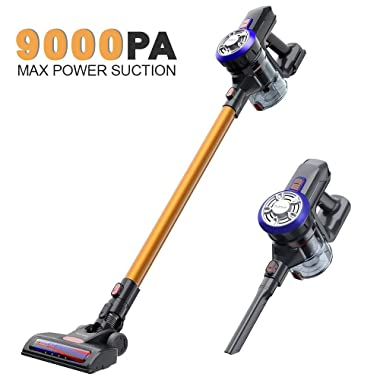 OUNUO Cordless Vacuum Cleaner, Lightweight Stick Vacuum with 9000Pa Suction Cordless Vacuum with LED Headlights Rechargeable Lithium Battery Wall-Mount-Bracket