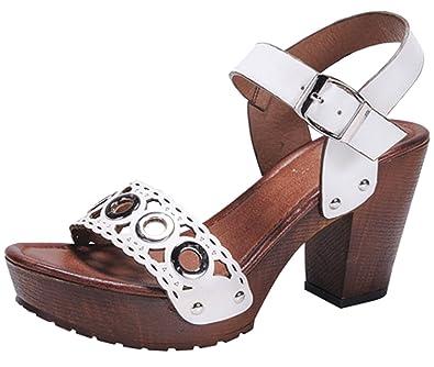 fedf3bce2 Nature Breeze Women s Gromet Cutout Scalloped Chunky Stacked Heeled Sandal  (9 B(M)