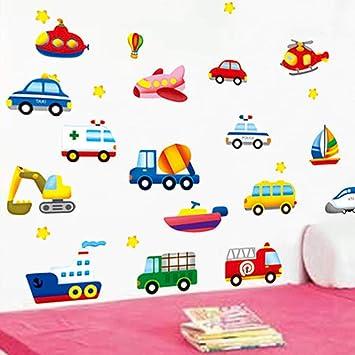 Aula de jardín de infantes, sala de niños, dormitorio de niño, decoración de fondo, pegatinas de pared de coche, etiqueta de pared de dibujos animados, sección de automóvil A_Big: Amazon.es: Bricolaje y