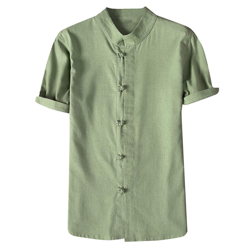 Shirt for Men, F_Gotal Men's T-Shirts Fashion Summer Short Sleeve Retro Chinese Style Linen Sport Tees Blouse Tops Green