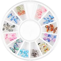 Lurrose Nail Stickers 3D Nail Art Decals DIY Butterflies Acrylic Nail Art Decorations Manicure Nail Accessories