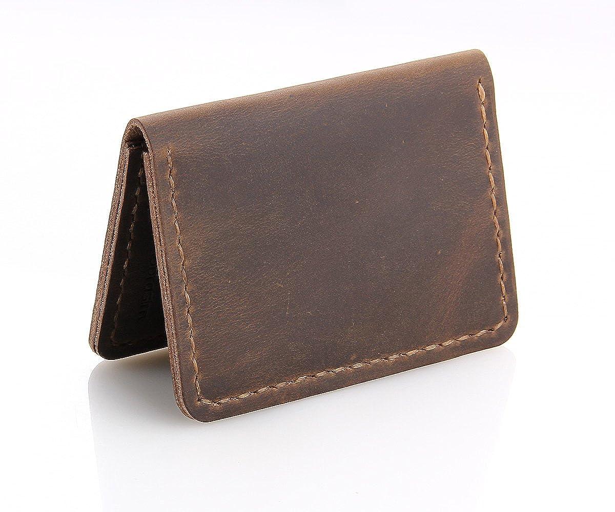 Amazon.com: Billetera de piel hecha a mano con doble pliegue ...