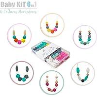 RUBY- Cuentas De Silicona kit Para 6 Collar Lactancia Mordedor Bebé (color vivo)