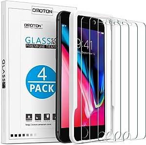 OMOTON [4 Piezas Protector Pantalla para iPhone 7 Plus/iPhone 8 Plus Cristal Templado iPhone 7 Plus/ 8 Plus, Transparente, Sin Despegamiento, Anti-Burbujas, con Marco para la Instalación