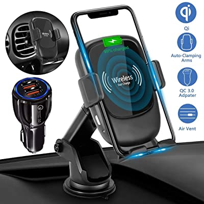 AmyZone Auto Clamping Wireless Car Charger Mount Qi 7.5/10W Dashboard Fast Wireless Charger Car Phone Holder for Google Pixel 4/3 iPhone 8-11 Samsung S7-S10 Note 5-10(with QC 3.0 Car Charger Adapter)