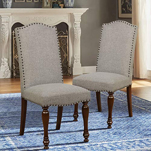 Parson Upholstered Chair Classic (ARGOHOME Fabric Upholstered Dining Chairs Set of 2 - Classic Parsons Chair with Copper Nails and Solid Wood Legs, Gray)