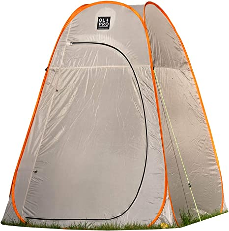 OLPRO Outdoor Leisure Products Extra Large Toilet Tent 1.6mx 1.6m Pop Up Camping Toilet Tent Grey & Orange