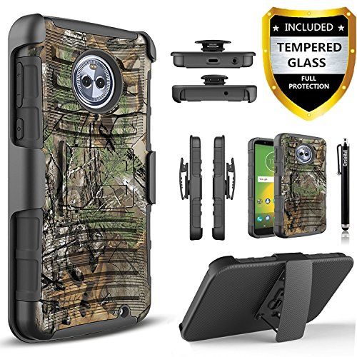 (Motorola Moto G6 Case With [Tempered Glass Screen Protector],[Not Fit Moto G6 Play/G6 Plus]Built-In Kickstand Belt Clip And Stylus Circlemalls Combo Holster Phone Cover-Camo)