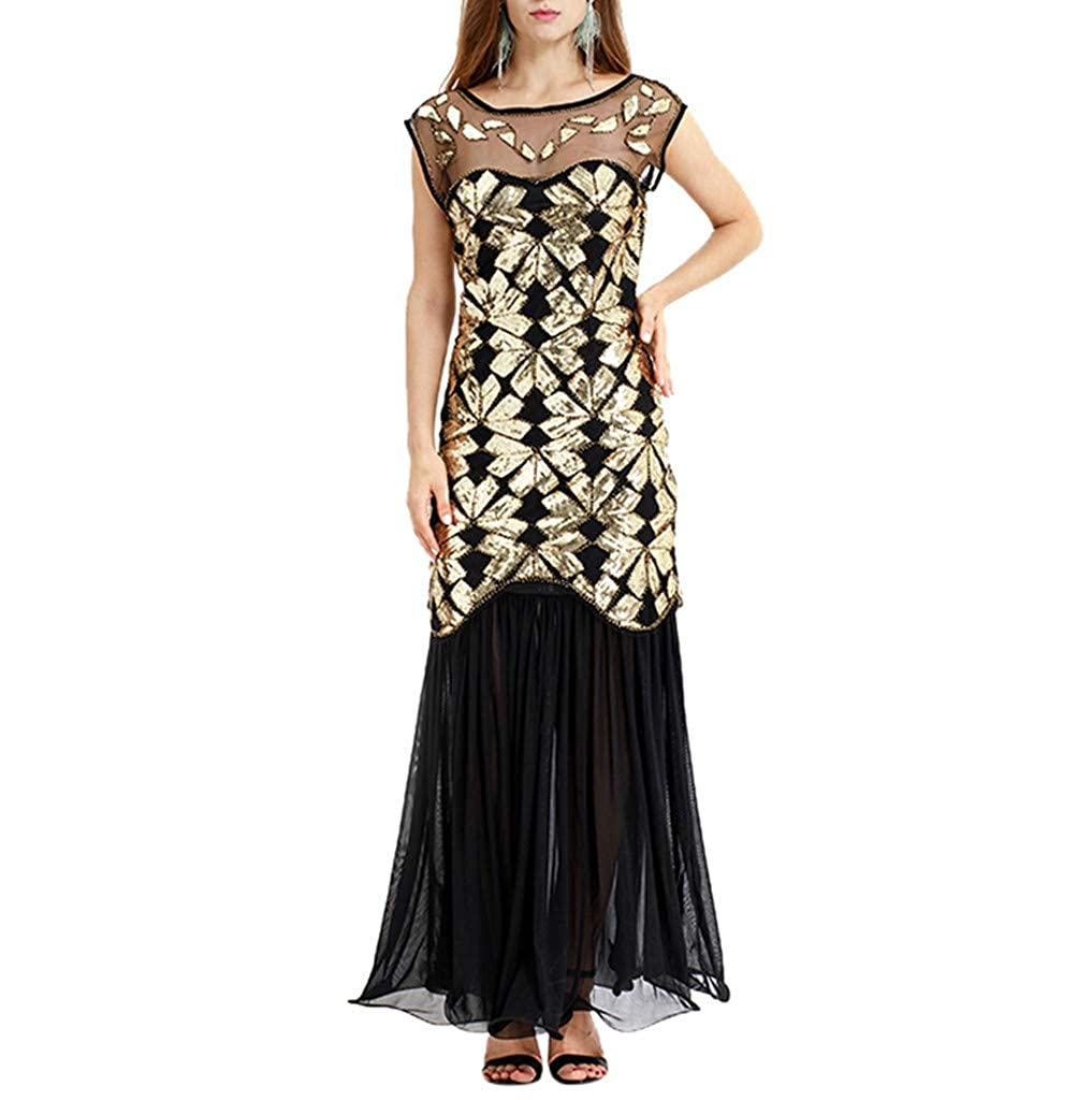 Dress-BANAA Damen Paillettenkleid,Pottoa Frauen Lang Kleid - Knielang Etuikleid Partykleid - Festlich Partykleid - Lose Rundhals Basic Kleider
