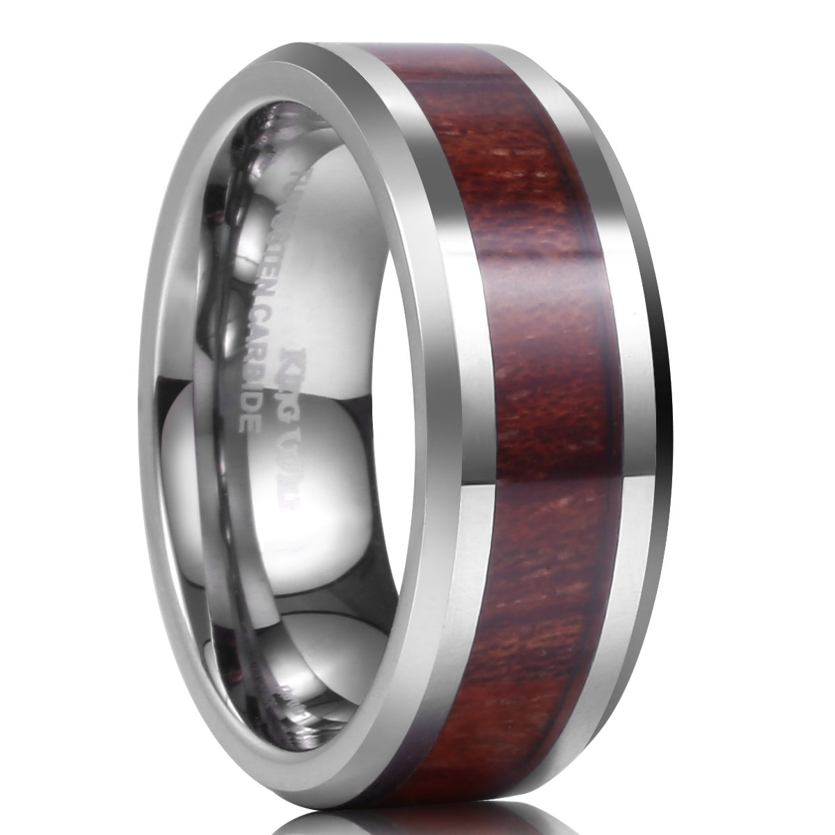 King Will NATURE 8mm Real Wood Tungsten Carbide Ring High Polished Wedding Band Comfort Fit OY-R161