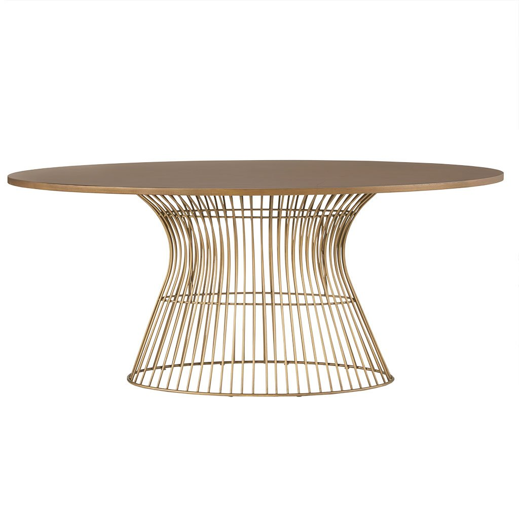 INK IVY Mercer Dining Oval Solid Wood Tabletop, Metal Wire Frame Base Mid-Century Modern Style Dinner Tables, 70 Wide, Bronze